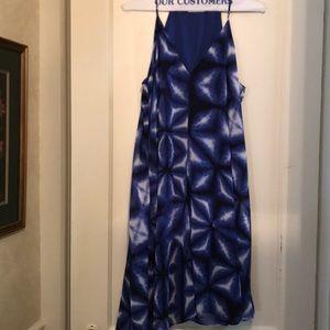 Blue Tie-Dye Halter Dress